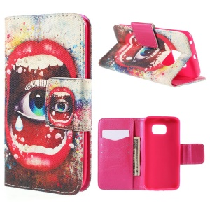 Sexy Lip and Eye Wallet Leather Case for Samsung Galaxy S6 Edge G925