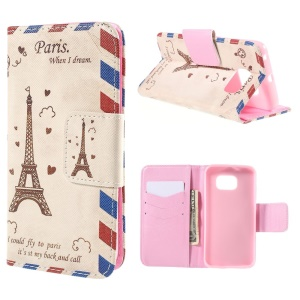 Eiffel Tower Wallet Stand Leather Case for Samsung Galaxy S6 Edge G925