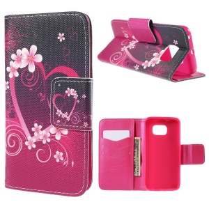 Heart Flowers Flip Leather Case for Samsung Galaxy S6 Edge G925 with Card Holder
