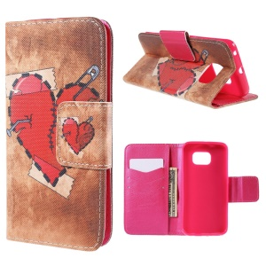 Red Heart Leather Case for Samsung Galaxy S6 Edge G925 with Card Slots