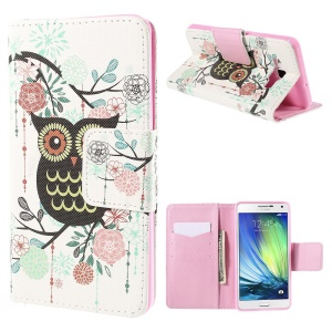 Owl Flowers Leather Case for Samsung Galaxy A7 SM-A700F with Card Slots