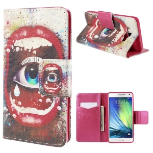 Sexy Lip and Eye Wallet Stand Leather Case for Samsung Galaxy A7 SM-A700F