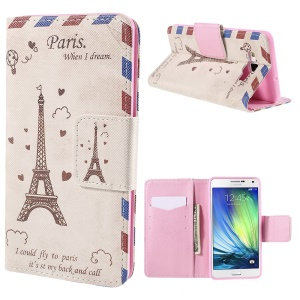 Eiffel Tower Wallet Stand Leather Case for Samsung Galaxy A7 SM-A700F