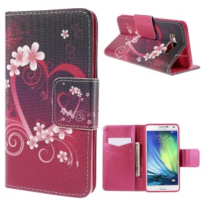 Heart Flowers Flip Leather Case for Samsung Galaxy A7 SM-A700F with Card Holder