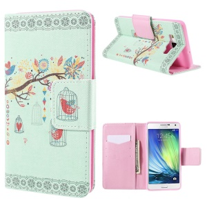 Branch and Cage Leather Wallet Case for Samsung Galaxy A7 SM-A700F