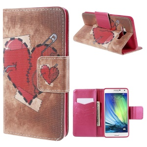 Red Heart Wallet Stand Leather Case for Samsung Galaxy A7 SM-A700F