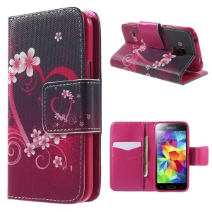 Heart Flowers Flip Leather Case for Samsung Galaxy S5 mini G800 with Card Holder