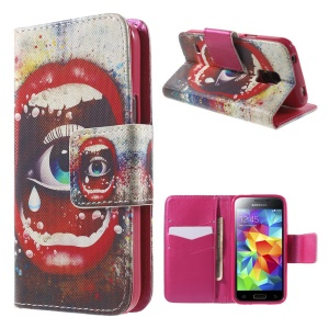 Sexy Lip and Eye Wallet Leather Case for Samsung Galaxy S5 mini G800