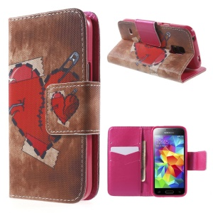 Red Heart Wallet Leather Case for Samsung Galaxy S5 mini G800