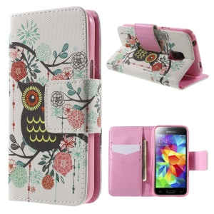 Owl Flowers Leather Case for Samsung Galaxy S5 mini G800 with Card Slots