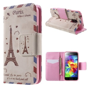 Eiffel Tower Wallet Stand Leather Case for Samsung Galaxy S5 mini G800