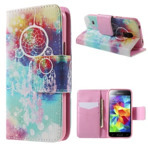 Dream Catcher Leather Wallet Case for Samsung Galaxy S5 mini G800 with Stand