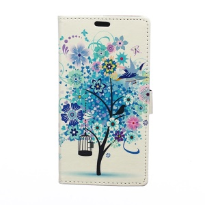 Illustration Pattern Magnetic Leather Stand Cover for Samsung Galaxy J5 SM-J500F - Blue Flower Tree