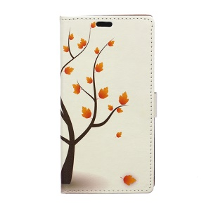 Illustration Pattern Leather Case for Samsung Galaxy J7 SM-J700F with Card Slots - Autumn Maple Tree