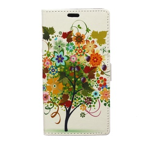 Illustration Pattern Leather Cover for Samsung Galaxy J7 SM-J700F with Card Slots - Colorized Fruit Tree