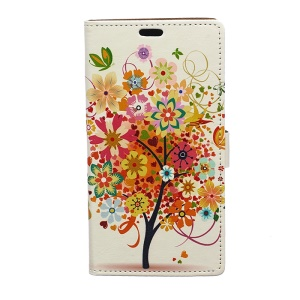 Illustration Pattern Wallet Leather Stand Cover for Samsung Galaxy J7 SM-J700F - Colorful Flower Tree