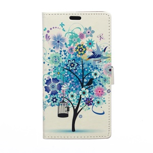 Illustration Pattern Wallet Leather Stand Case for Samsung Galaxy J7 SM-J700F - Blue Flower Tree