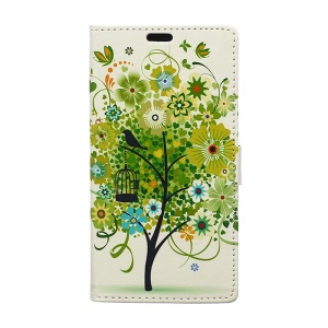 Illustration Pattern Leather Case Cover for Samsung Galaxy J7 SM-J700F with Card Slots - Green Flower Tree