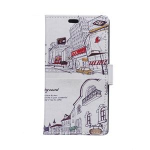 PU Leather Wallet Case Cover for Samsung Galaxy S6 Edge G925 - City Street Scene