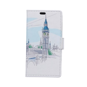PU Leather Wallet Case Cover for Samsung Galaxy S6 Edge G925 - Big Ben Illustration