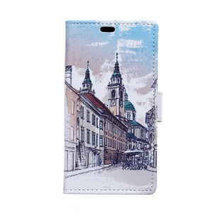 PU Leather Wallet Case Cover for Samsung Galaxy S6 Edge G925 - Old European Town