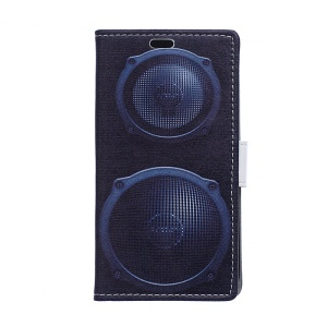 PU Leather Wallet Case Cover for Samsung Galaxy S6 Edge G925 - Dark Blue Sound Speakers