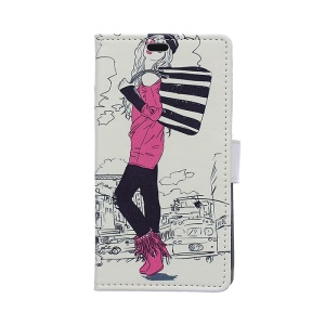 PU Leather Wallet Case Cover for Samsung Galaxy S6 Edge G925 - Fashion Girl in Sketch Style
