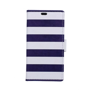 Wallet Leather Case Cover for Samsung Z1 Z130H - Nautical Blue and White Stripe
