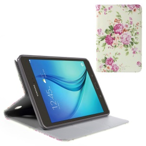 Leather Case for Samsung Galaxy Tab A 8.0 T350 with Stand Card Holder - Elegant Roses