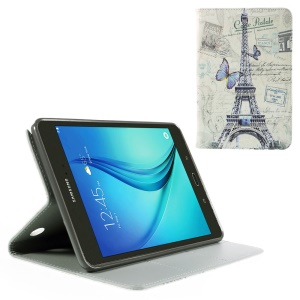 Leather Case for Samsung Galaxy Tab A 8.0 T350 with Card Slots - Eiffel Tower and Butterfly