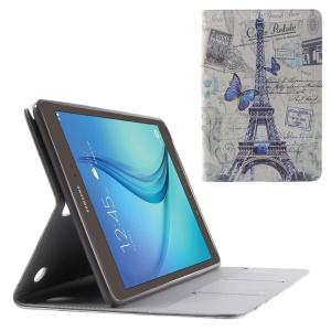 Eiffel Tower and Butterfly Flip Leather Shell for Samsung Galaxy Tab A 9.7 T550 T555