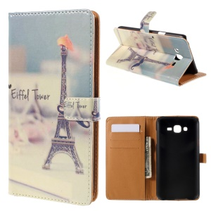 Wallet Leather Case Samsung Galaxy J7 SM-J700F with Stand - Eiffel Tower