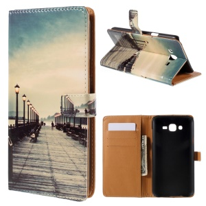 Wallet Leather Shell Samsung Galaxy J7 SM-J700F with Stand - Street and Passenger
