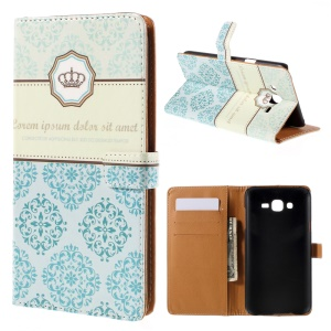 Wallet Leather Case Samsung Galaxy J7 SM-J700F with Stand - Flower