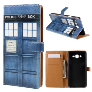 Wallet Leather Case Samsung Galaxy J7 SM-J700F with Stand - Police Box