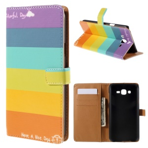 Wallet Leather Case Samsung Galaxy J7 SM-J700F with Stand - Rainbow Stripes