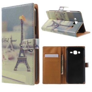 Wallet Leather Cover for Samsung Galaxy J5 SM-J500F - Eiffel Tower
