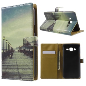 Bridge Pattern Wallet Leather Cover for Samsung Galaxy J5 SM-J500F