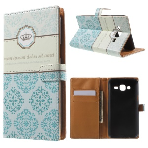 Crown and Flowers Wallet Leather Cover for Samsung Galaxy J5 SM-J500F