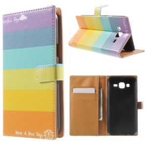 Wallet Leather Cover for Samsung Galaxy J5 SM-J500F with Stand - Rainbow Stripes