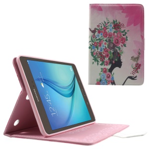 Diamante Leather Stand Cover for Samsung Galaxy Tab A 8.0 T350 - Flowered Girl and Birds