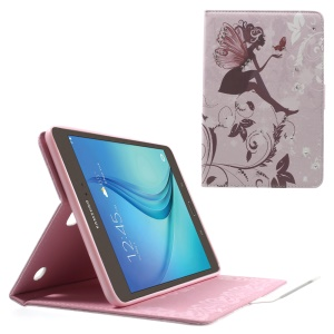 Rhinestones PU Leather Case for Samsung Galaxy Tab A 8.0 T350 - Girl with Wings and Vines