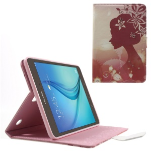 Diamonds Magnetic Leather Case for Samsung Galaxy Tab A 8.0 T350 - Beautiful Girl and Bauhinia