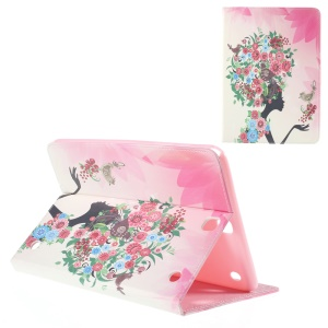 Leather Shell for Samsung Galaxy Tab A 9.7 T550 with Stand - Flower, Girl and Bird