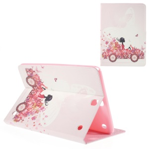 Leather Shell for Samsung Galaxy Tab A 9.7 T550 with Stand - Girl in Flower Decorated Car