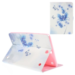 Leather Cover for Samsung Galaxy Tab A 9.7 T550 with Stand - Blue Flower and Butterfly