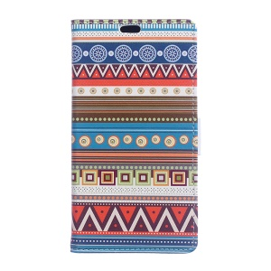 Flip Wallet Leatherette Cover for Samsung Galaxy Xcover 3 SM-G388F - Tribal Geometrics