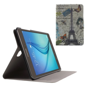 Sweet Fragrance PU Leather Cover for Samsung Galaxy Tab A 8.0 T350 - Eiffel Tower and Butterflies