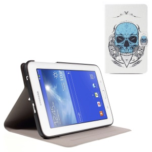 Perfume Smell Leather Case for Samsung Galaxy Tab 3 Lite 7.0 T110 T111 - Blue Skull