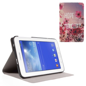 Perfume Smell Leather Shell for Samsung Galaxy Tab 3 Lite 7.0 T110 T111 - Flower and Quote